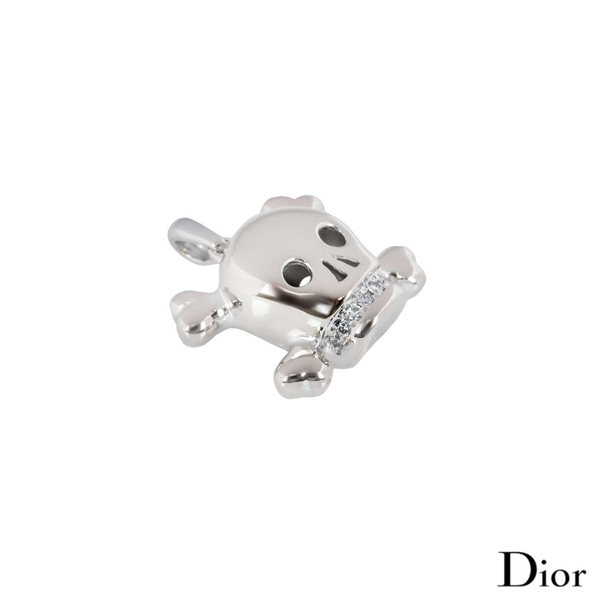 Dior White Gold Tete De Mort Skull Pendant